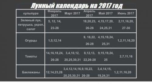 Лунный календарь 2017