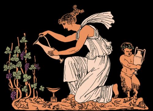 Древнегреческая женщина с виноградом