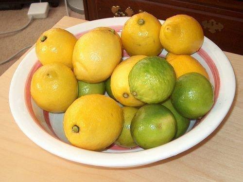 Лимоны и лаймы в миске