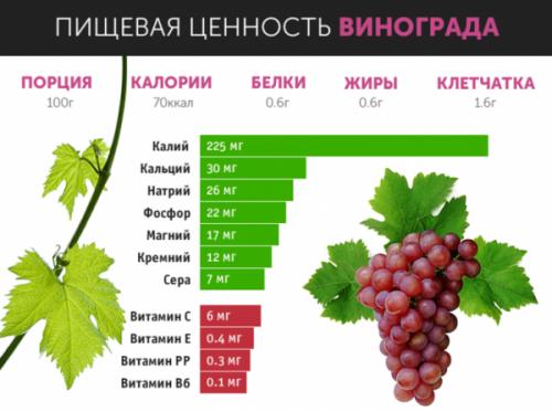 Пищевая ценность красного винограда
